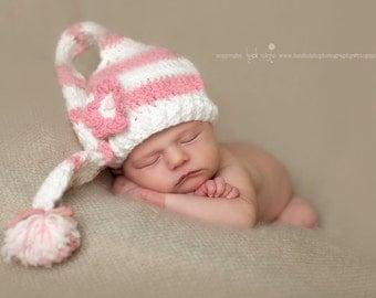 Elf hat, newborn elf hat, baby elf hat, newborn hat, newborn baby hat, long tail hat, crochet baby hat, newborn photo prop, baby girl hat