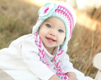 Baby winter hat, crochet earflap hat, girls winter hat, toddler winter hat, photography prop, pink winter hat, white winter hat, photo prop