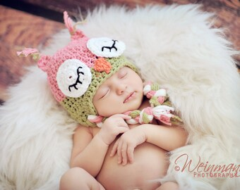 Owl hat, baby owl hat, crochet owl hat, sleepy owl hat, pink owl hat, newborn hat, newborn photo prop, toddler owl hat, baby girl hat