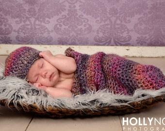 Crochet purple cocoon, crochet cocoon, purple cocoon, newborn photo prop, crochet newborn sack, baby pea pod, crochet cocoon, purple hat