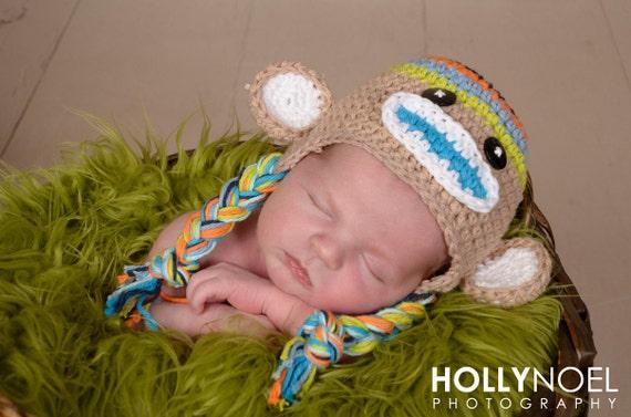 Crochet Boys Stripe Sock  Monkey Hat  Newborn to Toddler sizing  Photography prop