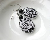 Black and White Victorian Lace Clay Earrings