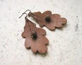 Free Shipping Oak Leaves Clay Earrings
