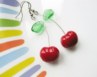 FREE WORLDWIDE SHIPPING - Cherry Clay Earrings