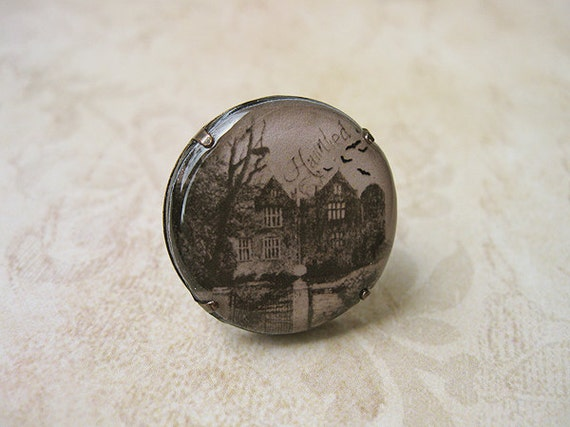 Haunted House Clay Ring - Halloween jewelry