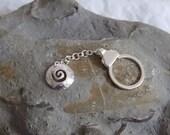 Silver spiral Bag charm or Key chain