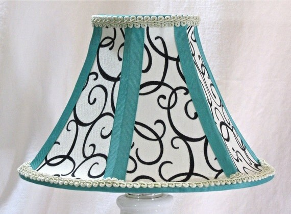 small bell shaped lamp shade in black white and tiffany blue. Black Bedroom Furniture Sets. Home Design Ideas