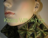 Square Yarn Earrings (med-size) Camouflage