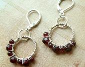 Hoop Earrings Wire Wrapped With Ruby Red Garnet in Silver