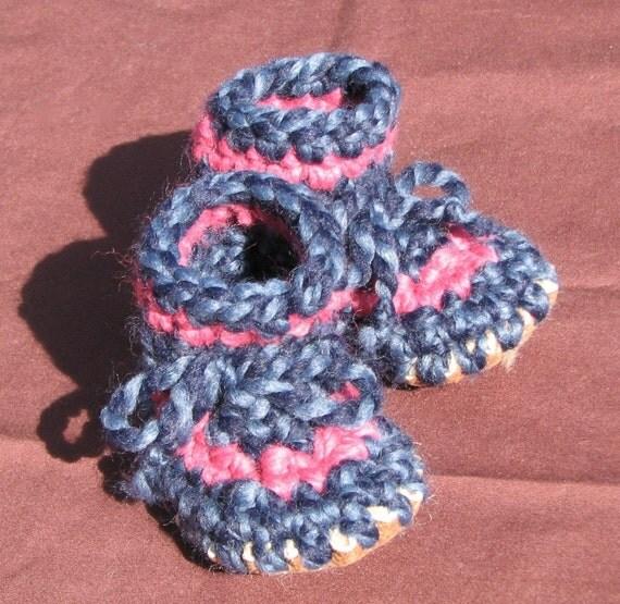Crocheted Baby Slipper with Sheepskin Sole