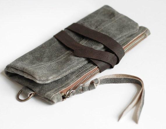 SALE,FOKS FORM Clu Bag 02, clutch bag, zip pouch, leather purse, grey leather handbag