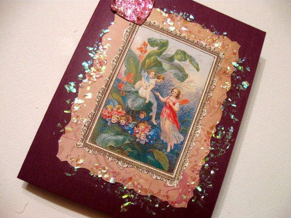 1 OOAK Witches Cottage Fairy Greeting Card Blank