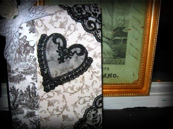 OOAK Neo Victorian in Black and White Witch's Cottage Collection Journal Goth Shabby