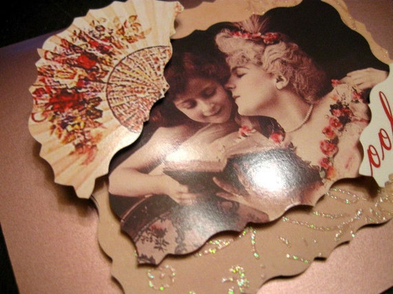1 OOAK Goth Greeting Card Marie Antoinette Style French Ooh la la