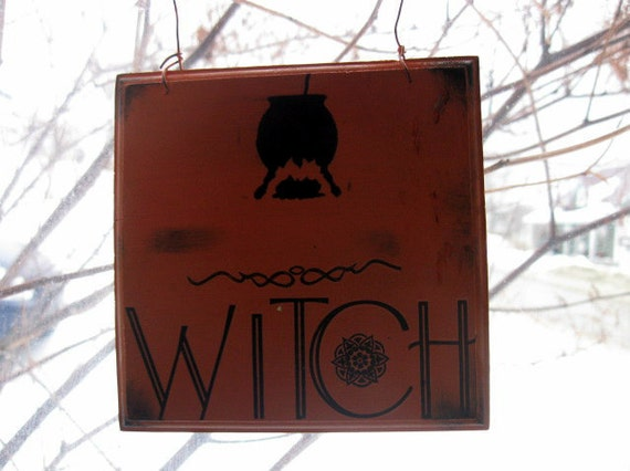 Primitive Halloween Sign Witch Magic