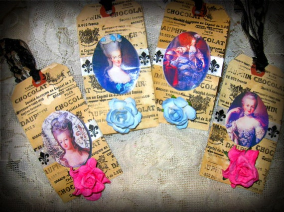 4 Hang Tags Marie Antoinette Shabby Primitive Tea Dyed Stamped