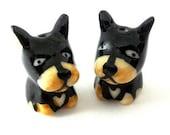 2 adorable dog beads, porcelain, black and tan