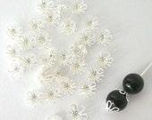 40 filigree silver plated beadcaps, 7mm flower shape, flexible