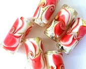 4 pink swirl beads, lampwork glass, strawberry sundae, pink and gold