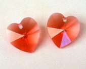Padparadscha heart pendants, 14mm Swarovski crystal hearts, qty 2