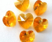 6 topaz 10mm Swarovski crystal heart pendants, No AB crystal