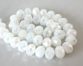 24 TINY white opal beads, Chinese crystal, 6mm x4mm rondelles