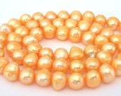 Peach freshwater pearls, 6mm, full strand, peach pearls, pale orange freshwater pearls