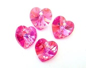 Rose AB Swarovski crystal heart pendants, 10mm, Qty 4