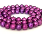 Violet purple freshwater 5mm pearls, 16 inch strand