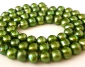 Olivine green 6mm freshwater pearls, 16 inch strand