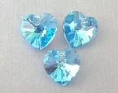 Aquamarine AB Swarovski crystal hearts, 10mm, Qty 3
