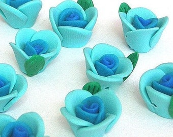 Blue polymer clay flower beads, 12mm, Qty 8