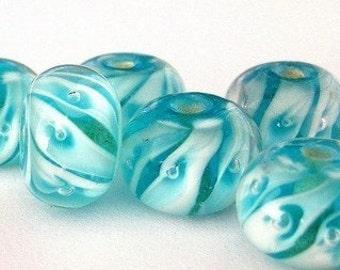5 blue swirled lampwork glass beads, turquoise lampwork beads