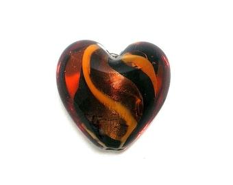 Bronze and gold heart bead, swirled glass, 25x25mm