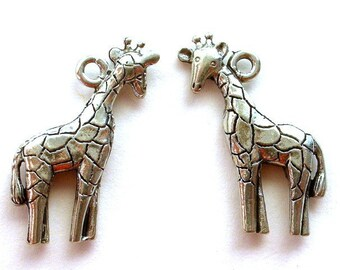 Giraffe charms, antiqued silver, lead safe pewter, Qty 2