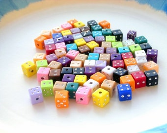 65 dice beads, 6mm acrylic multicolor, random mix