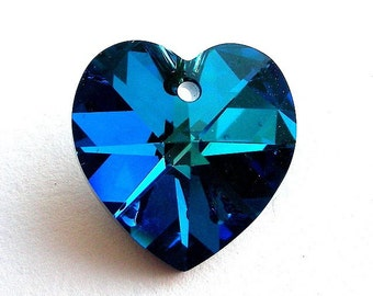 Bermuda Blue 18mm Swarovski heart pendant
