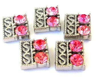 2 pink crystal two hole slider beads, antiqued silver