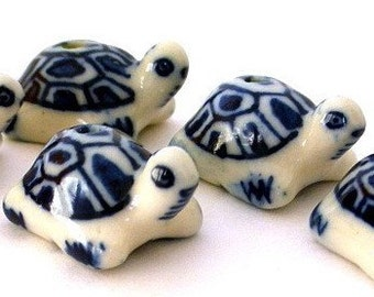 3 blue turtle beads, porcelain turtles, very cute