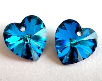 14mm Bermuda Blue hearts, Swarovski crystal pendants, Qty 2