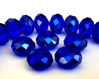 11 cobalt blue beads, 12x8mm rondelles, Chinese crystal
