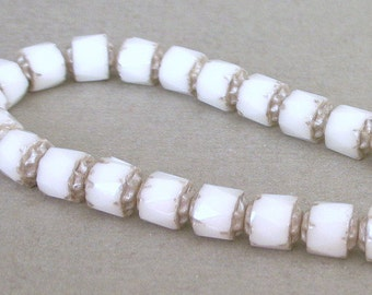 White and silver cathedral beads, 6mm Czech glass, qty 14