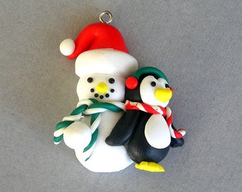 Snowman and Penguin pendant, polymer clay charm