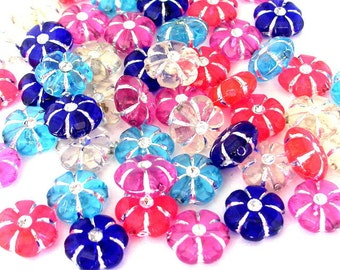 45 translucent flower beads, 10mm acrylic