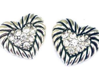 2 silver heart two hole beads, Austrian crystals, rope design