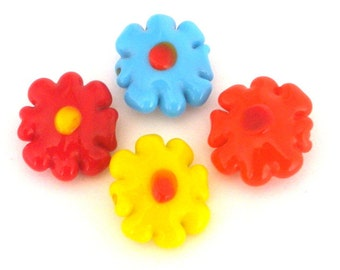 4 flower multicolor beads, lampwork glass