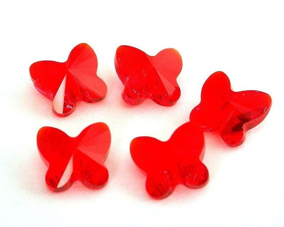 5 TINY red Swarovski crystal butterfly beads, 7mm