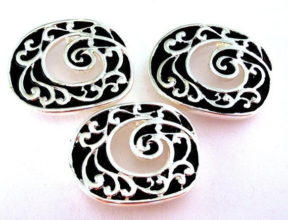 2 silver black two hole beads, double hole sliders