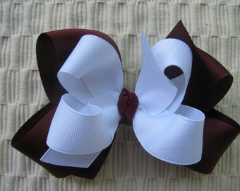 2505 Aggie maroon and white double boutique bow