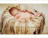 Infant Newborn Baby Cream Fringe Blanket Photo Prop Nest, 'Oatmeal Fringie' is TWICE AS LARGE AS SHOWN
